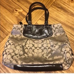 Authentic Tan Coach Ashley Signature Carryall Tote